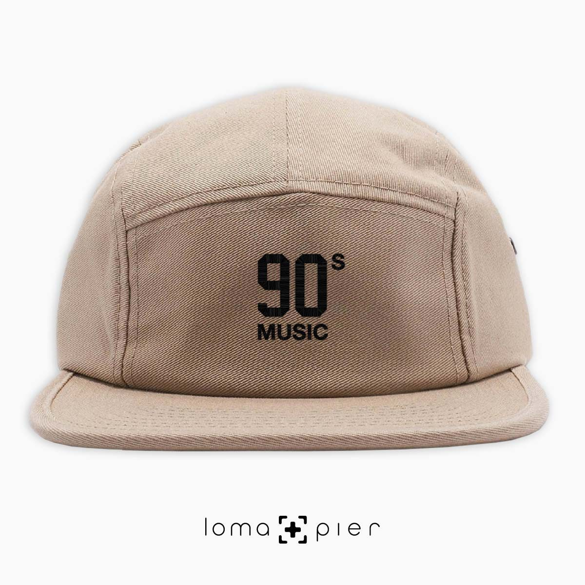 90's MUSIC typography embroidered on a khaki cotton 5-panel hat with black thread by loma+pier hat store