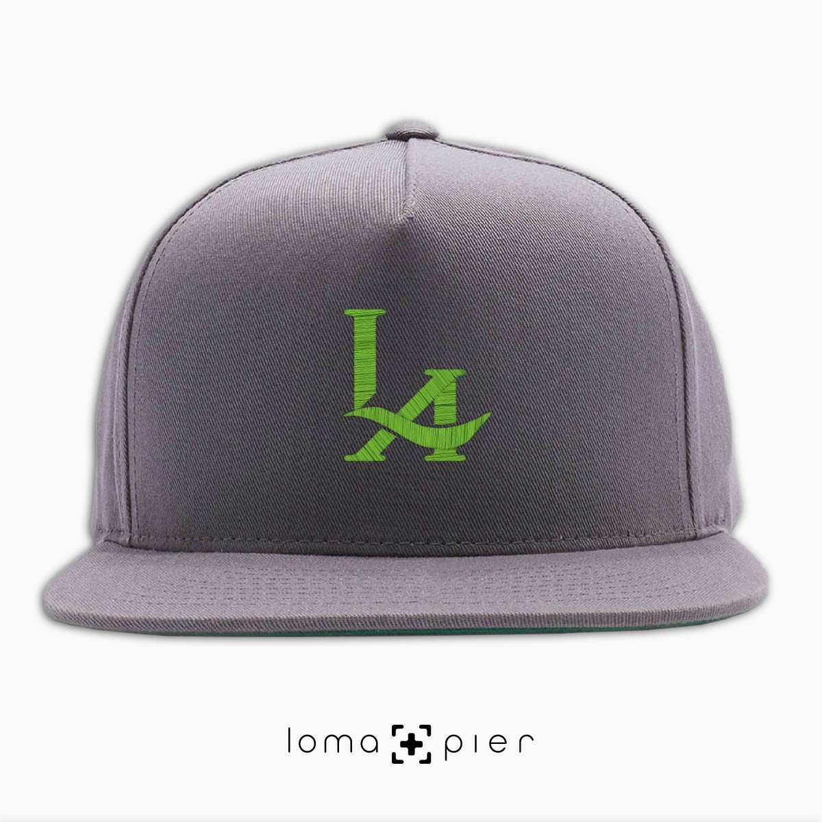 los angeles LA logo embroidered on a grey classic snapback hat by loma+pier hat store