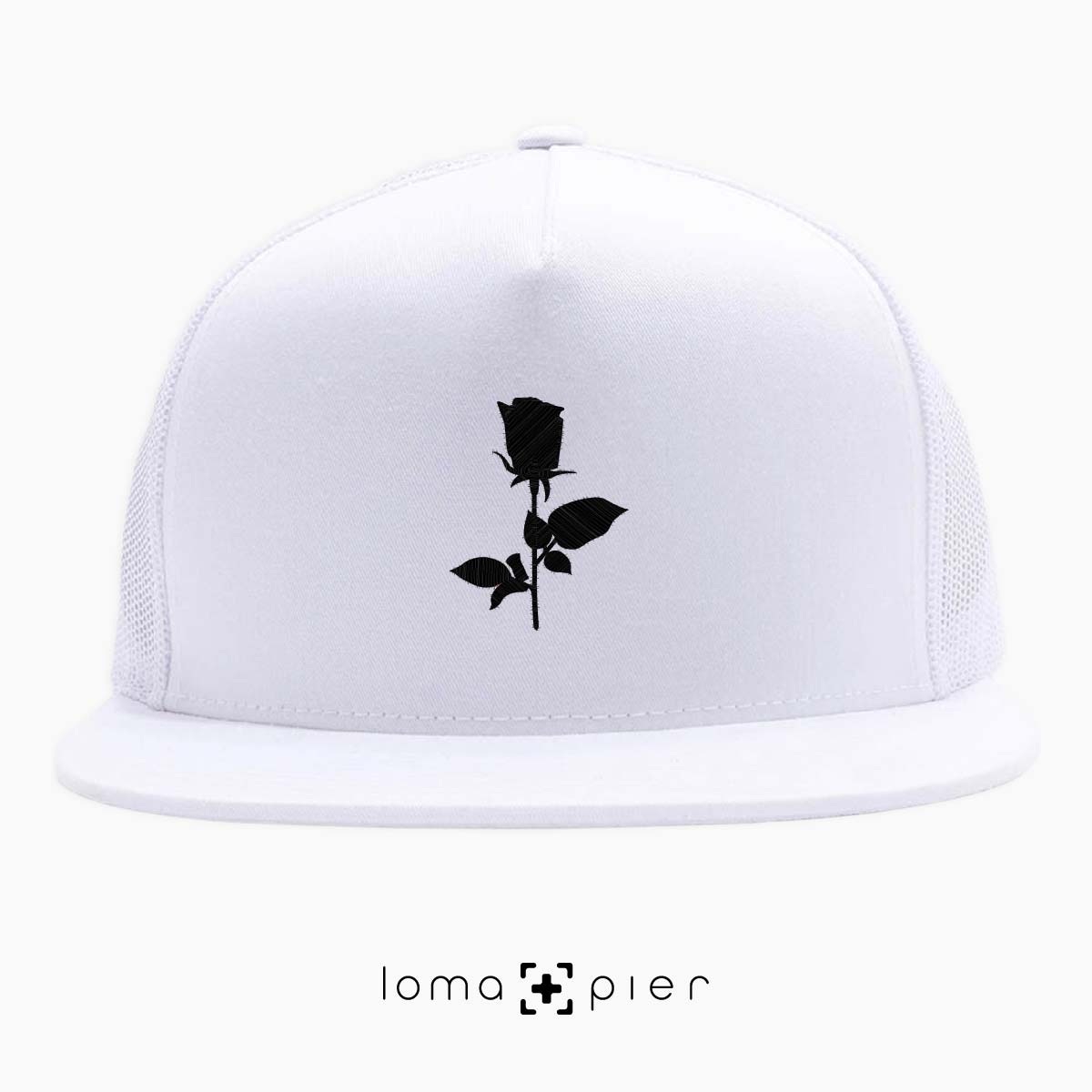snapback cap with ROSE icon by loma and pier hat shop