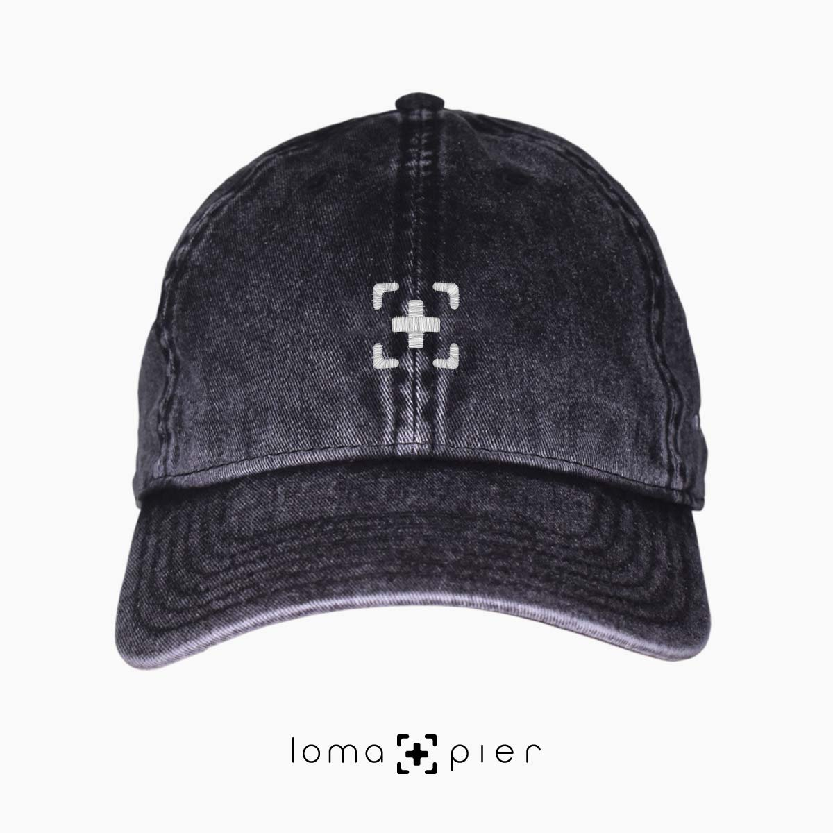 black washed out vintage dad hats with loma and pier icon