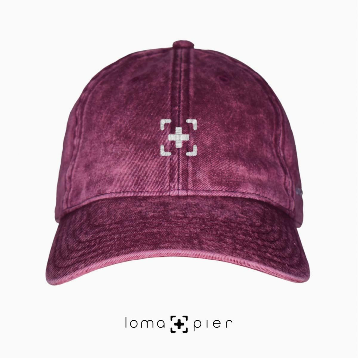 maroon washed out vintage dad hats with loma and pier icon