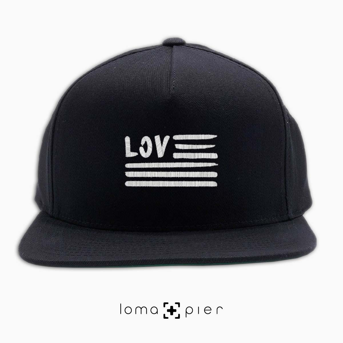 AMERICAN LOVE icon embroidered on a black classic snapback hat with white thread by loma+pier hat store