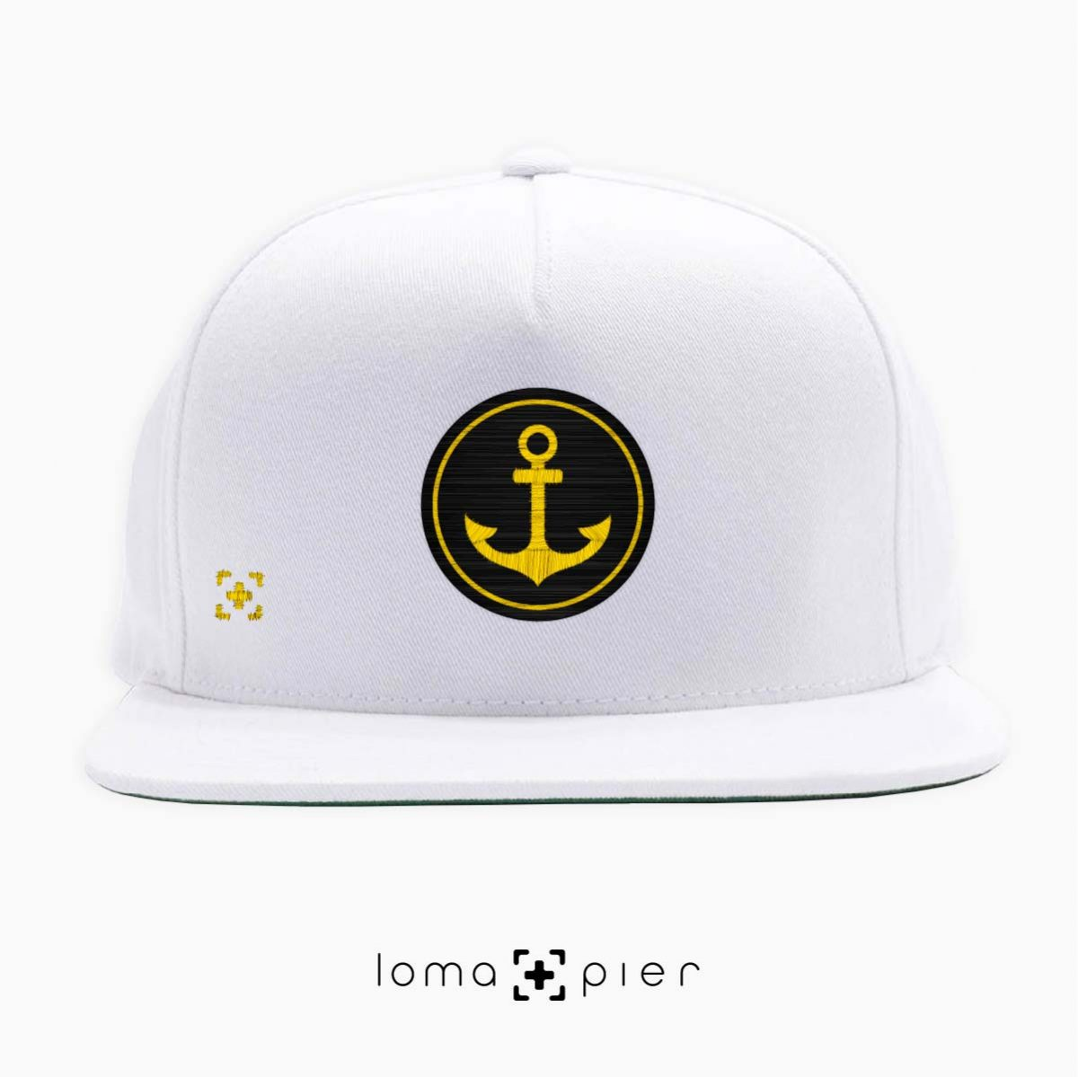 ANCHOR icon snapback hat in white by lomapier hat store