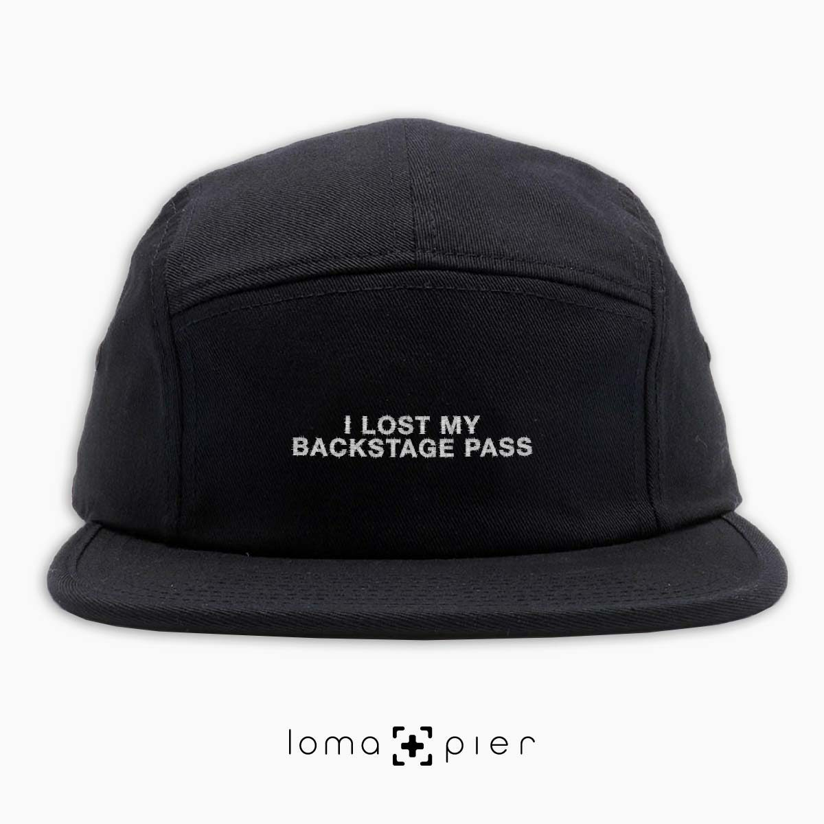 I LOST MY BACKSTAGE PASS music festival 5-panel hat in black by loma+pier hat store