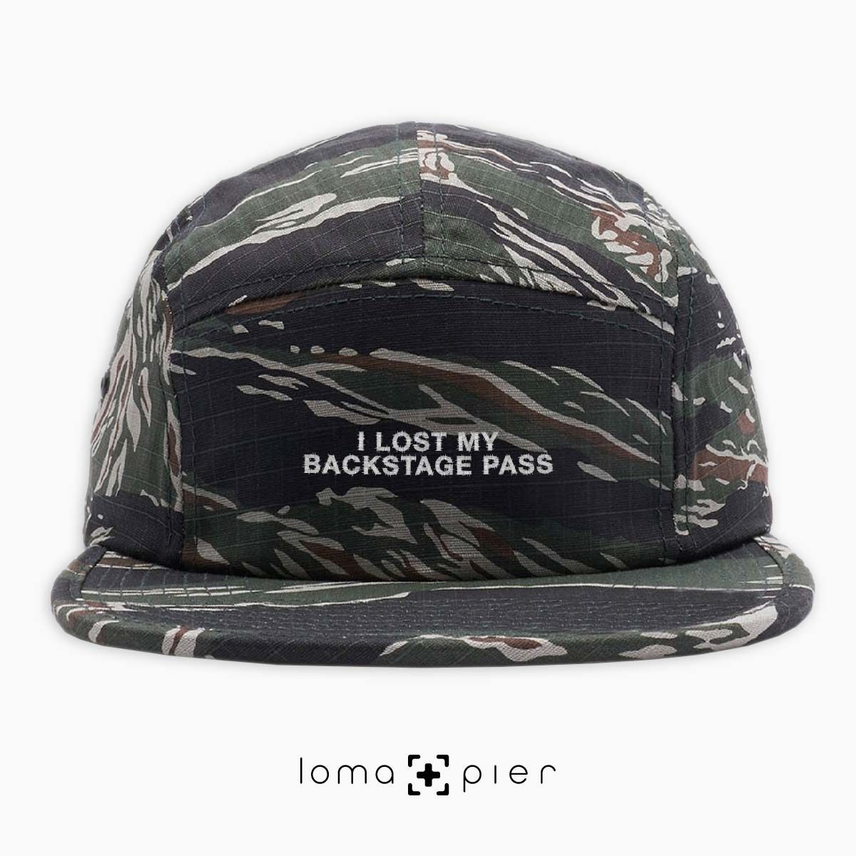 I LOST MY BACKSTAGE PASS music festival 5-panel hat in camo by loma+pier hat store