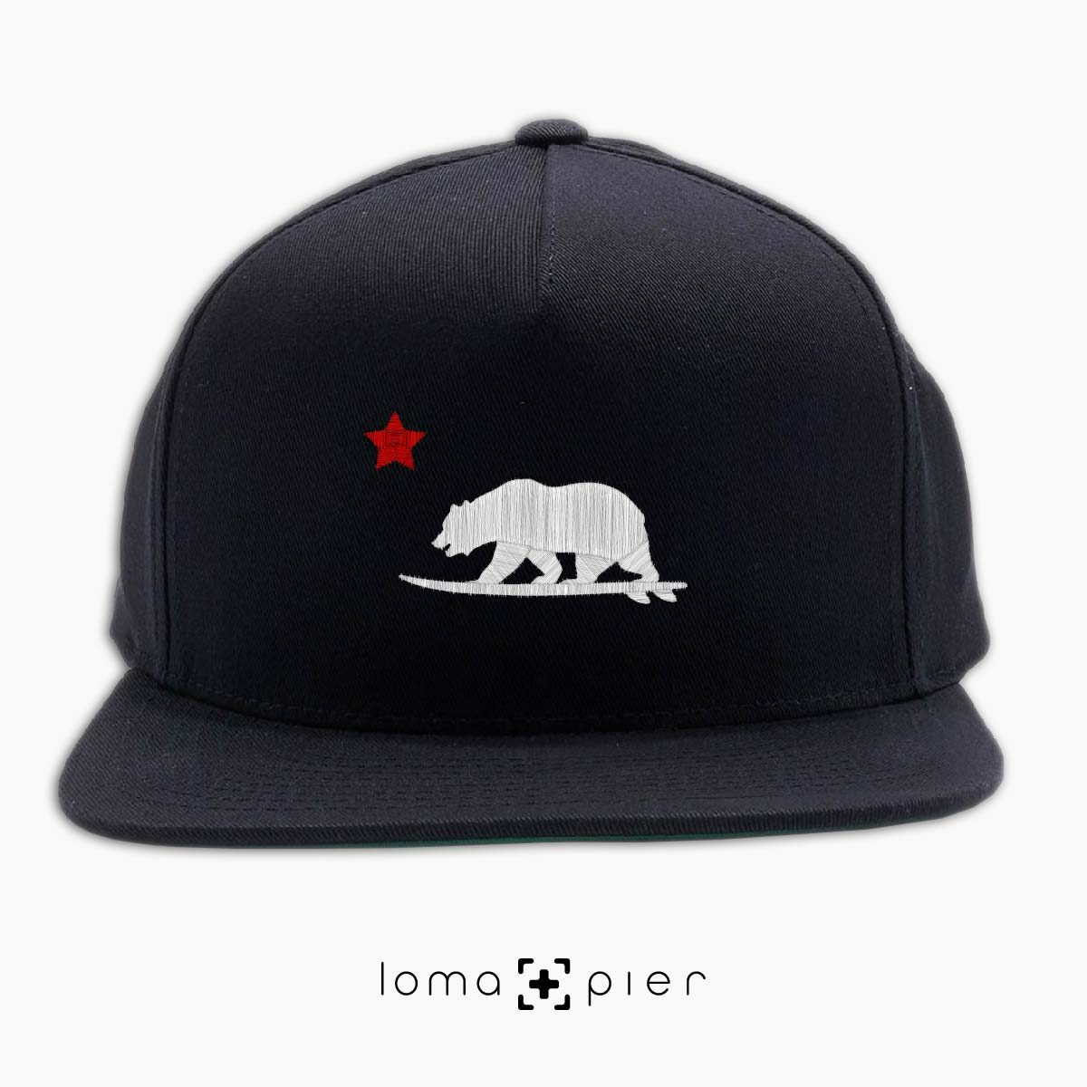 CALI SURFER icon embroidered on a black classic snapback hat with white and red thread by loma+pier hat store