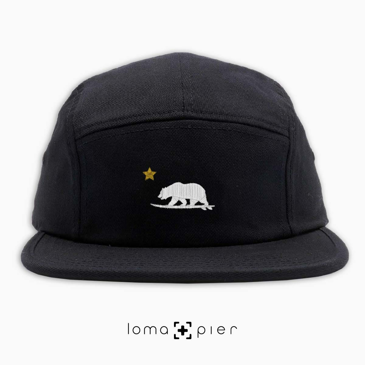 CALI SURFER icon embroidered on a black cotton 5-panel hat with white and gold thread by loma+pier hat store