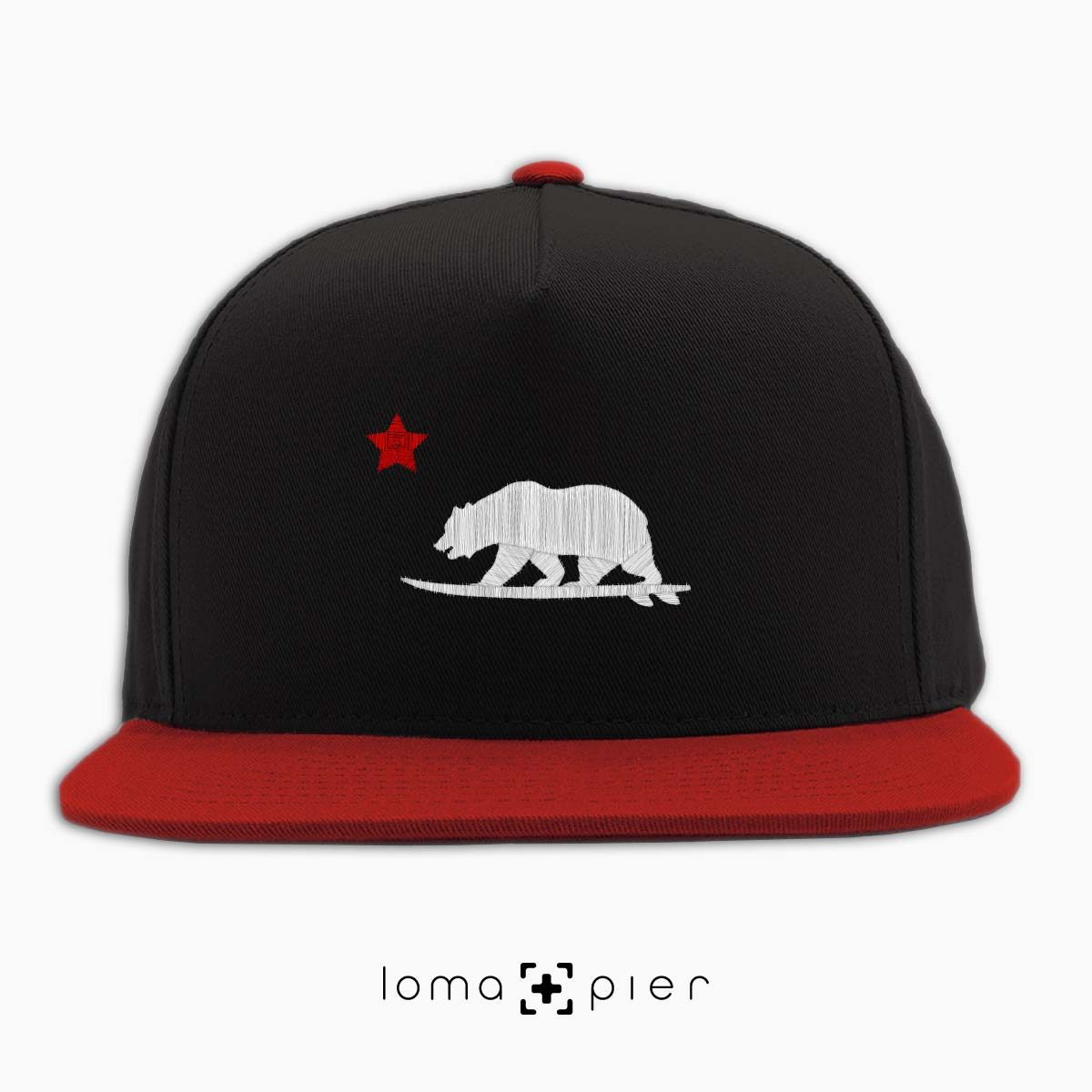CALI SURFER icon embroidered on a black and red classic snapback hat with white and red thread by loma+pier hat store