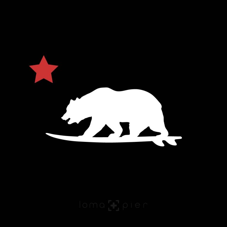 CALIFORNIA BEAR SURFING icon design by loma+pier hat store