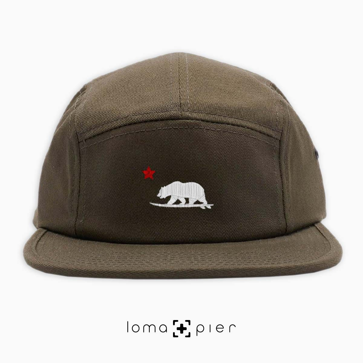 CALIFORNIA BEAR SURFING icon embroidered on an olive green cotton 5-panel hat with white and red thread by loma+pier hat store