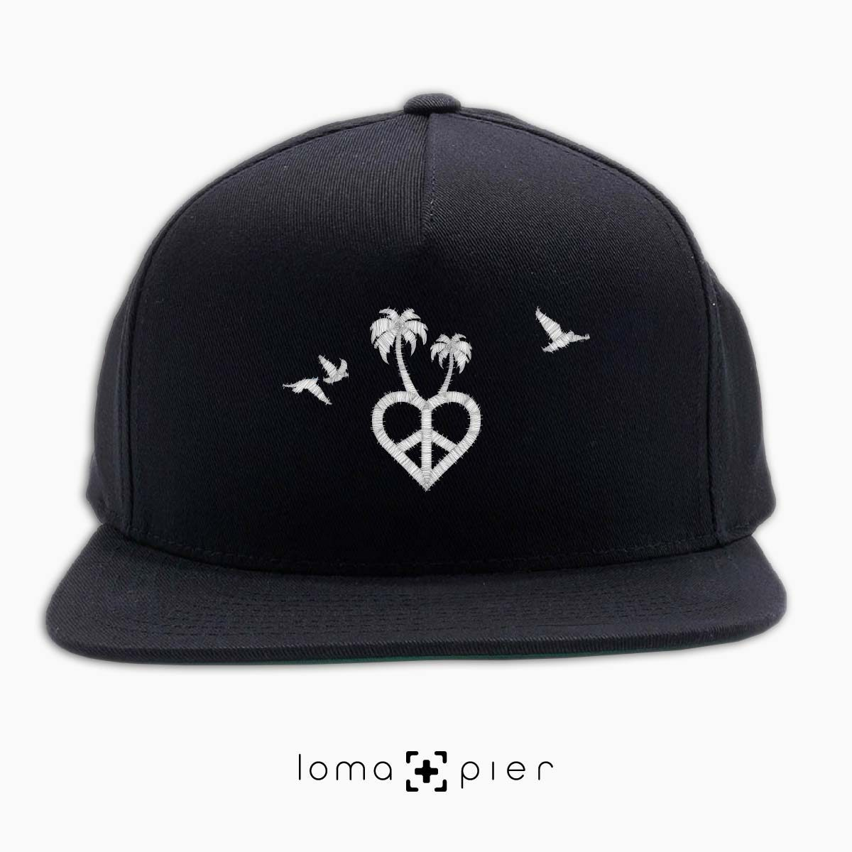 CALI VIBES icon embroidered on a black classic snapback hat with white thread by loma+pier hat store