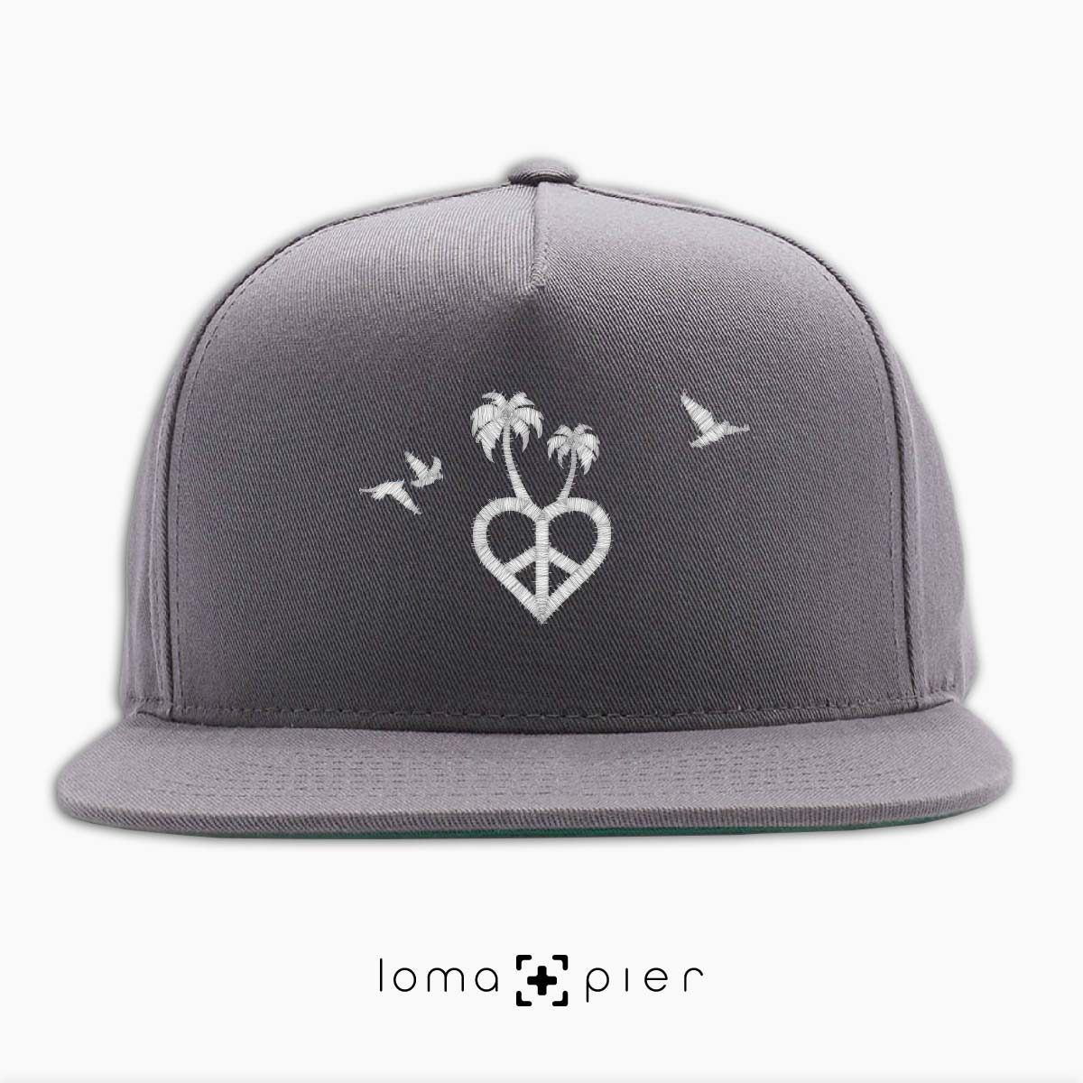 CALI VIBES icon embroidered on a grey classic snapback hat with white thread by loma+pier hat store
