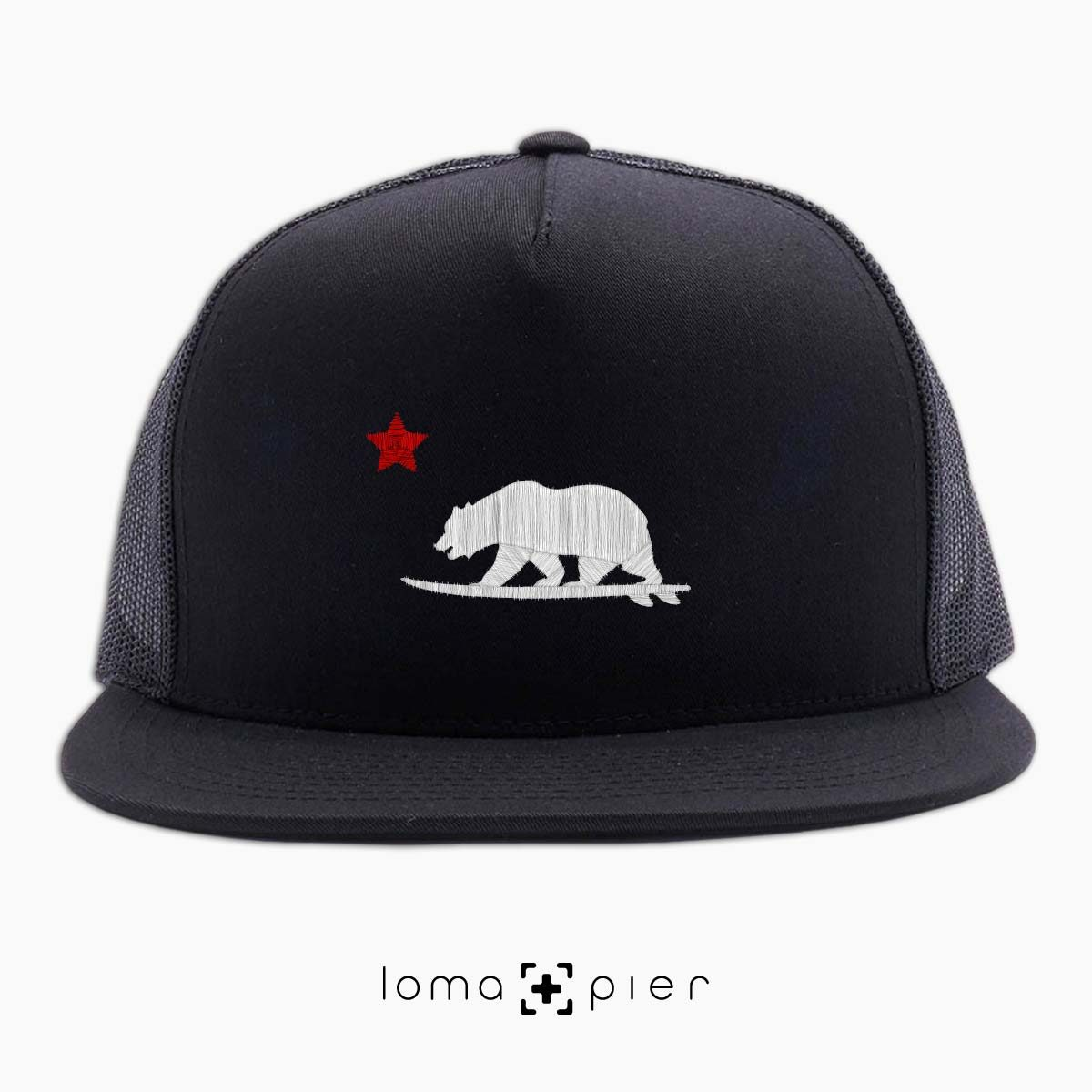 CALIFORNIA BEAR SURFING icon black beach netback trucker by loma+pier hat store