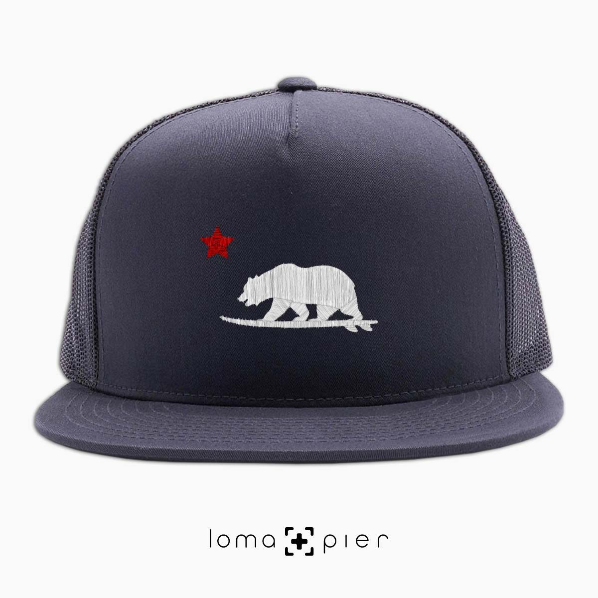 CALIFORNIA BEAR SURFING icon charcoal beach netback trucker by loma+pier hat store