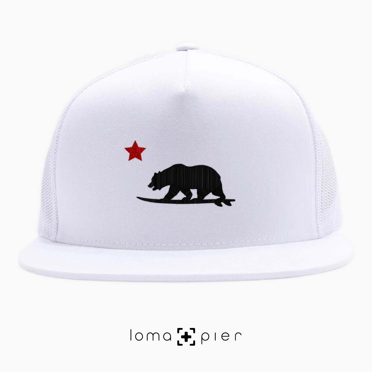 CALIFORNIA BEAR SURFING icon white beach netback trucker by loma+pier hat store