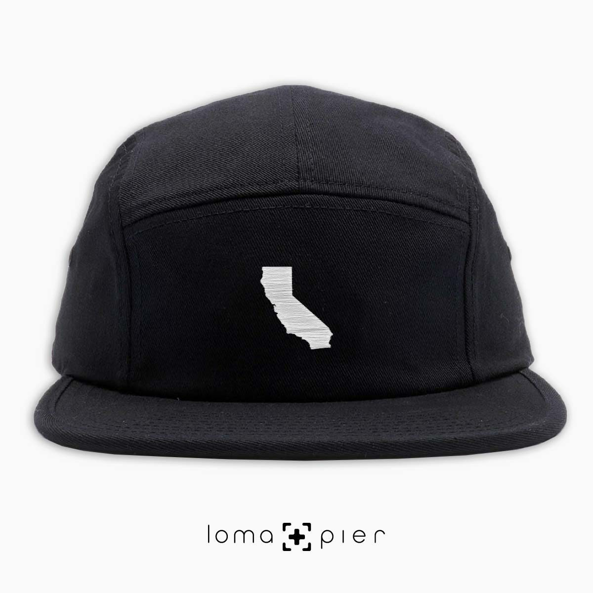 CALIFORNIA silhouette icon embroidered on a black cotton 5-panel hat by loma+pier hat store