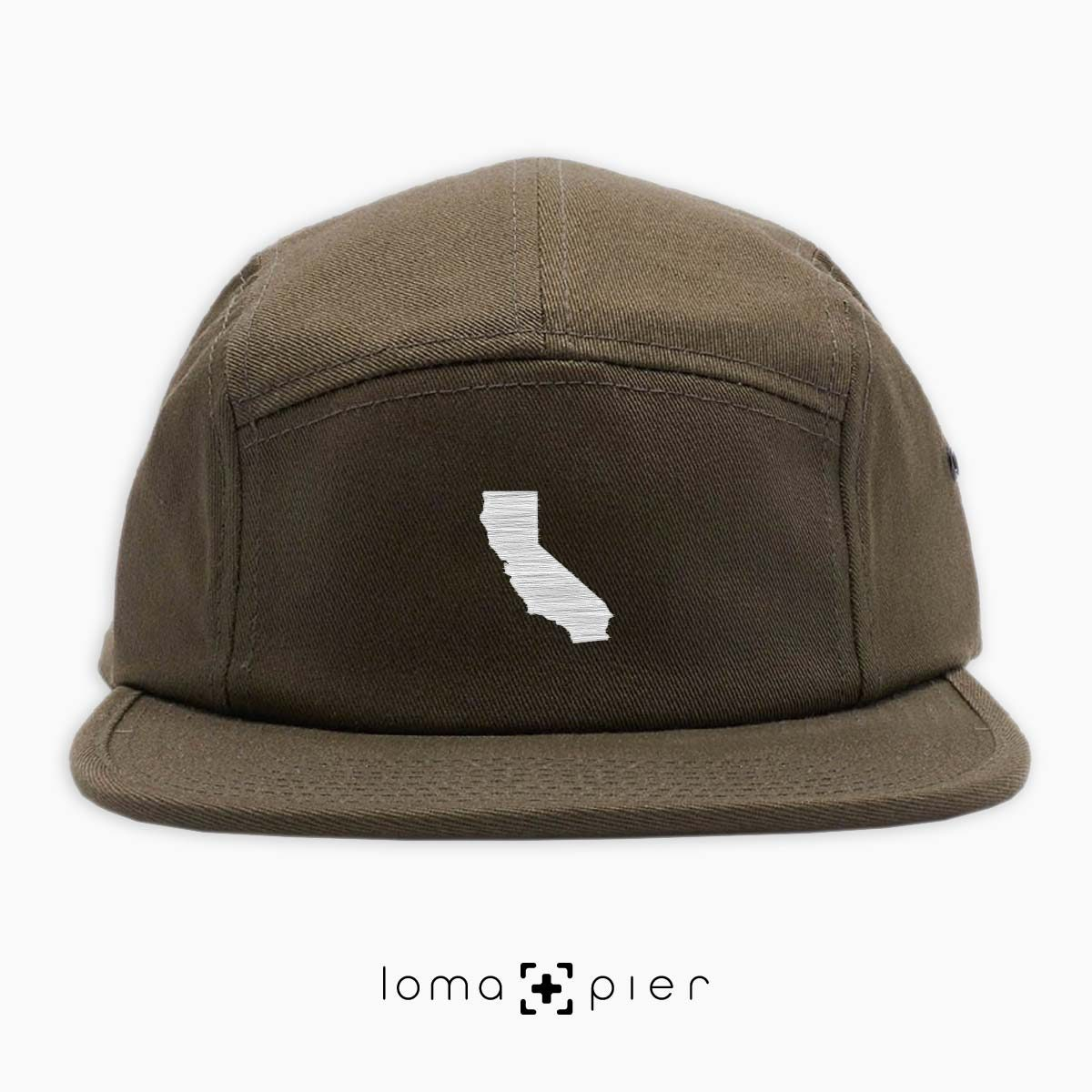 CALIFORNIA silhouette icon embroidered on an olive green cotton 5-panel hat by loma+pier hat store