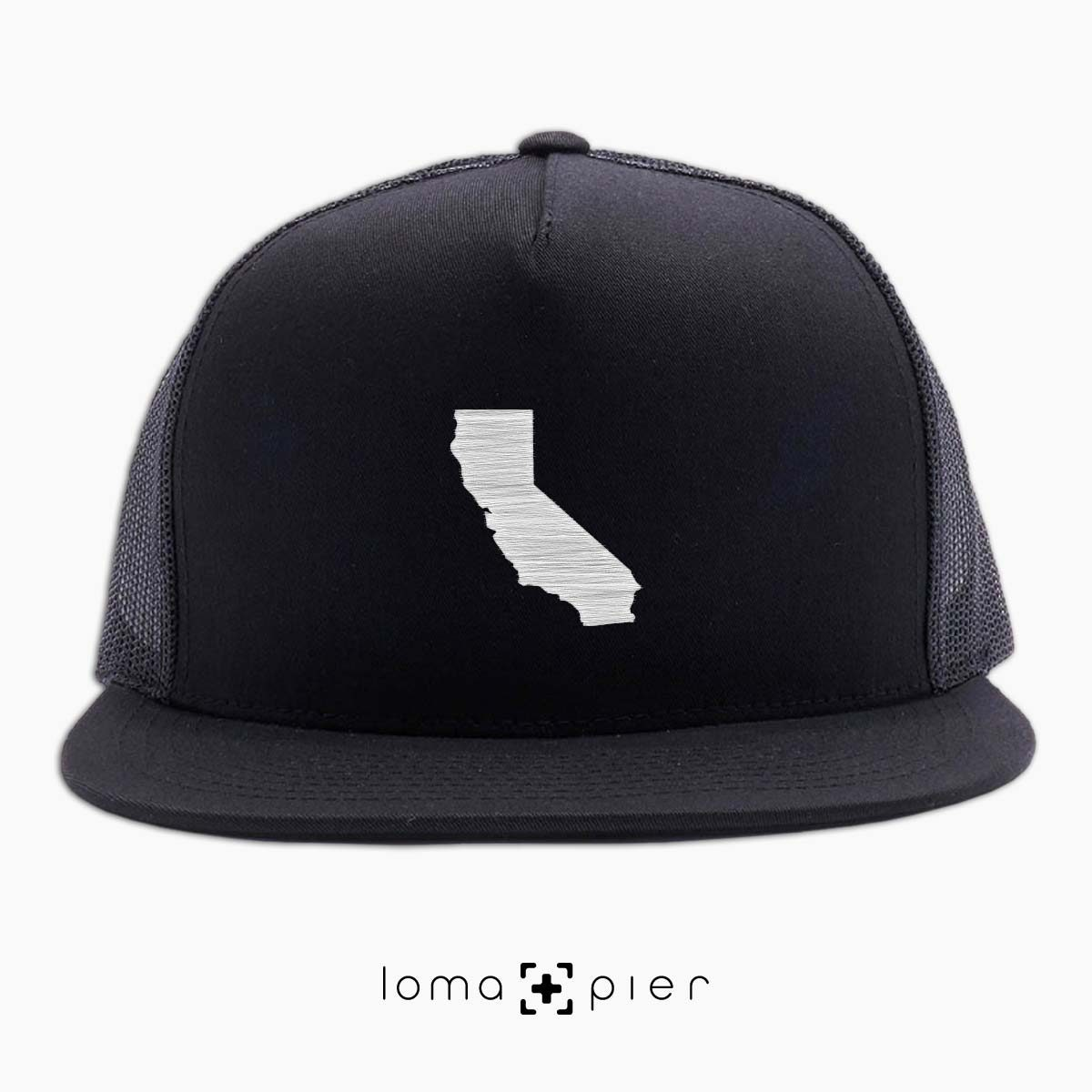 CALIFORNIA icon beach netback trucker hat in black by loma+pier hat store