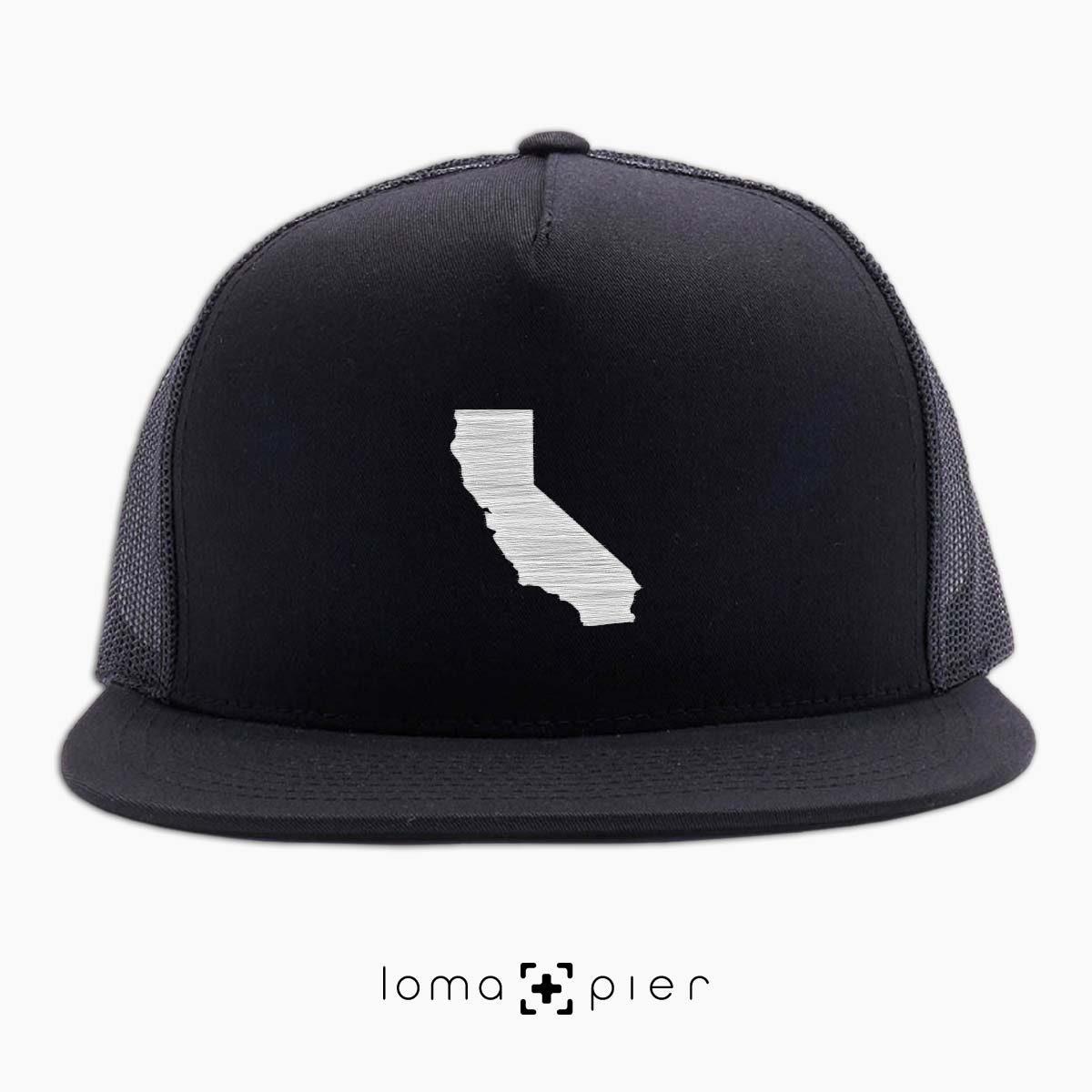 CALIFORNIA icon beach netback trucker hat in black by loma+pier hat store