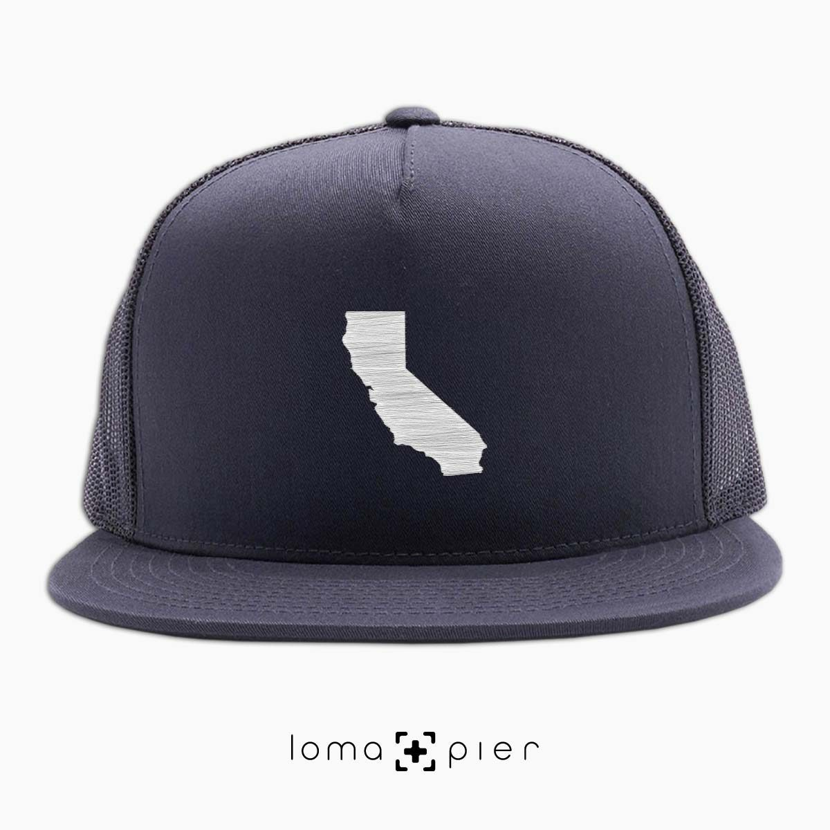 CALIFORNIA icon beach netback trucker hat in charcoal by loma+pier hat store