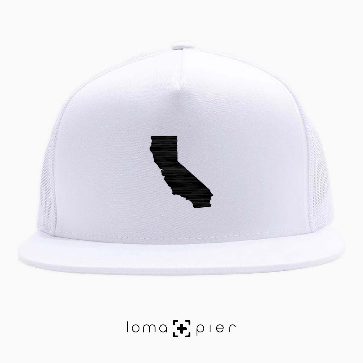 CALIFORNIA icon beach netback trucker hat in white by loma+pier hat store