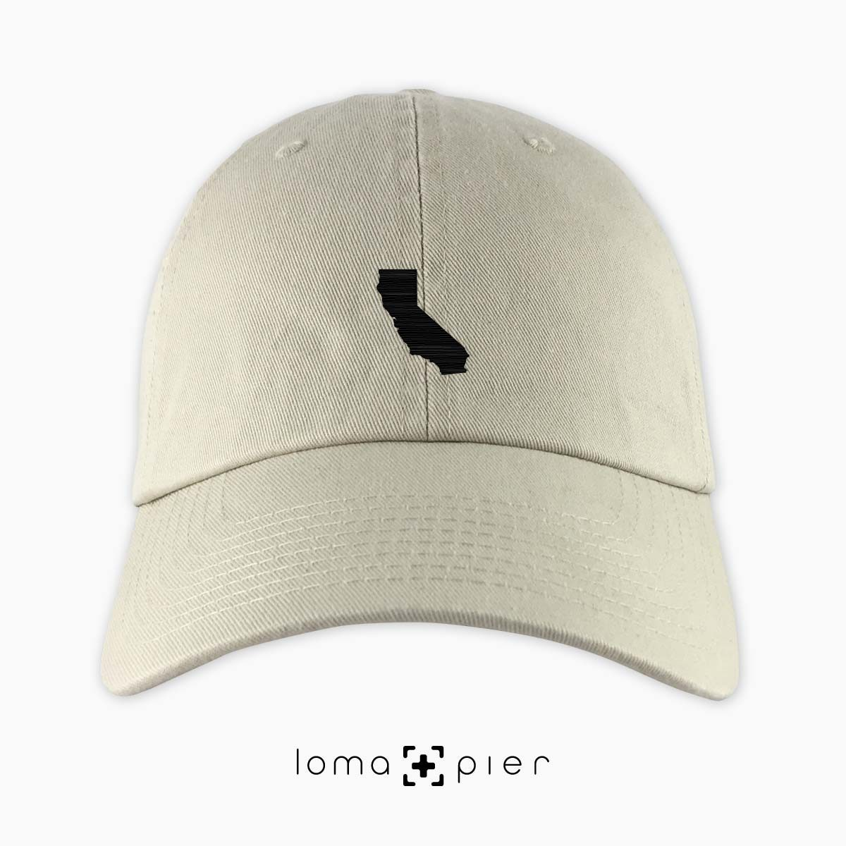 CALIFORNIA silhouette icon embroidered on a khaki unstructured dad hat by loma+pier hat store made in the USA