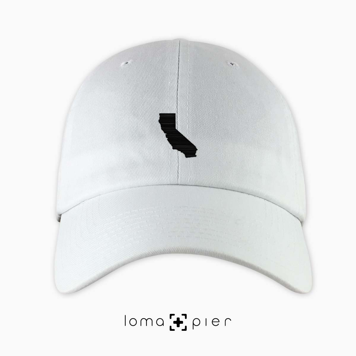 CALIFORNIA silhouette icon embroidered on a white unstructured dad hat by  loma+pier hat store 62f2090f5e2