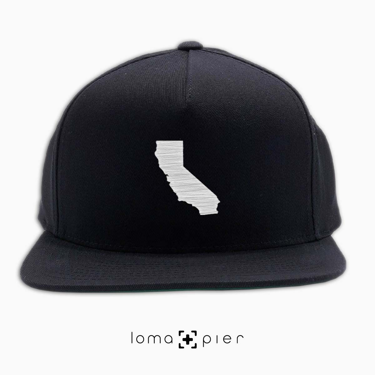 CALIFORNIA silhouette icon embroidered on a black classic snapback hat by loma+pier hat store