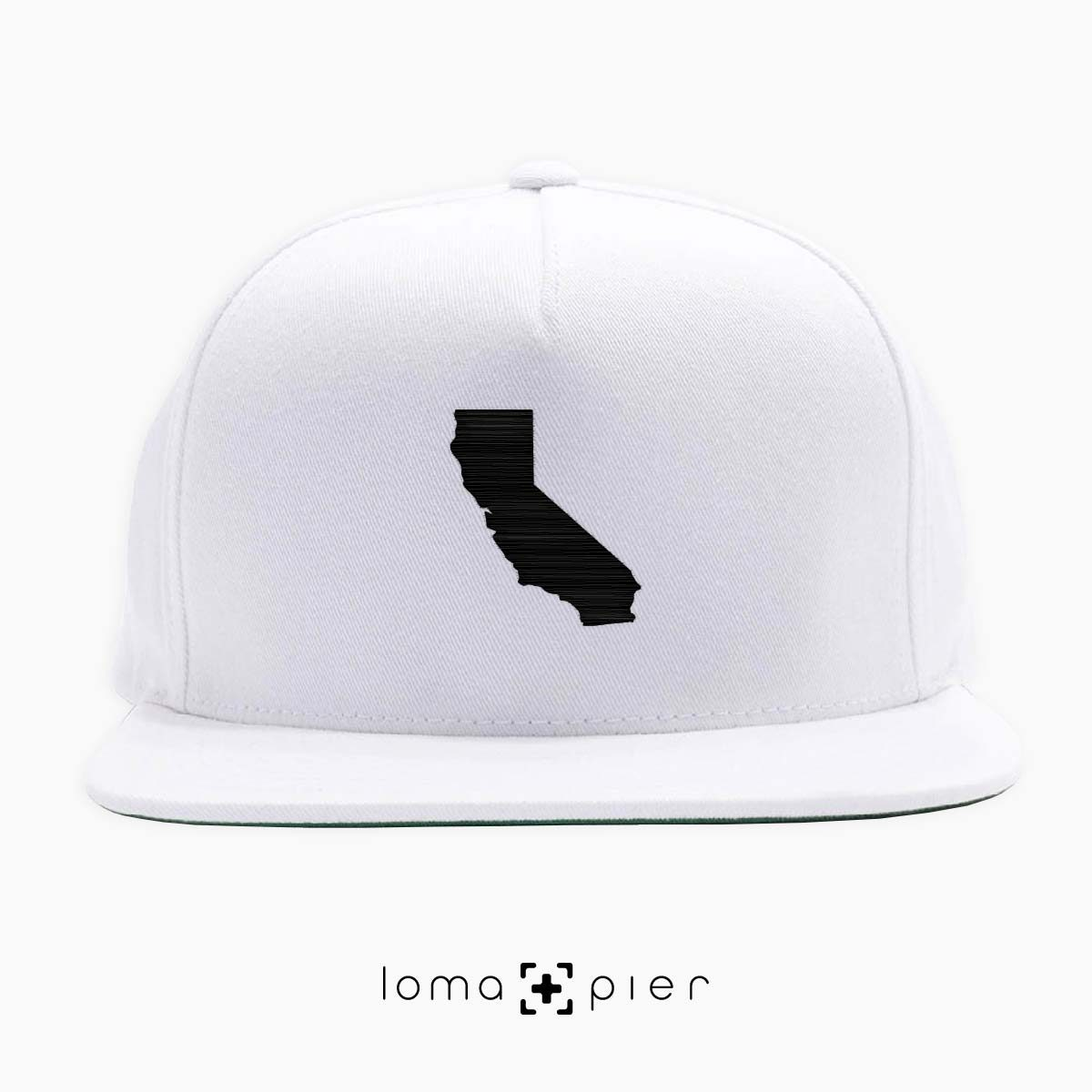 CALIFORNIA silhouette icon embroidered on a white classic snapback hat by loma+pier hat store