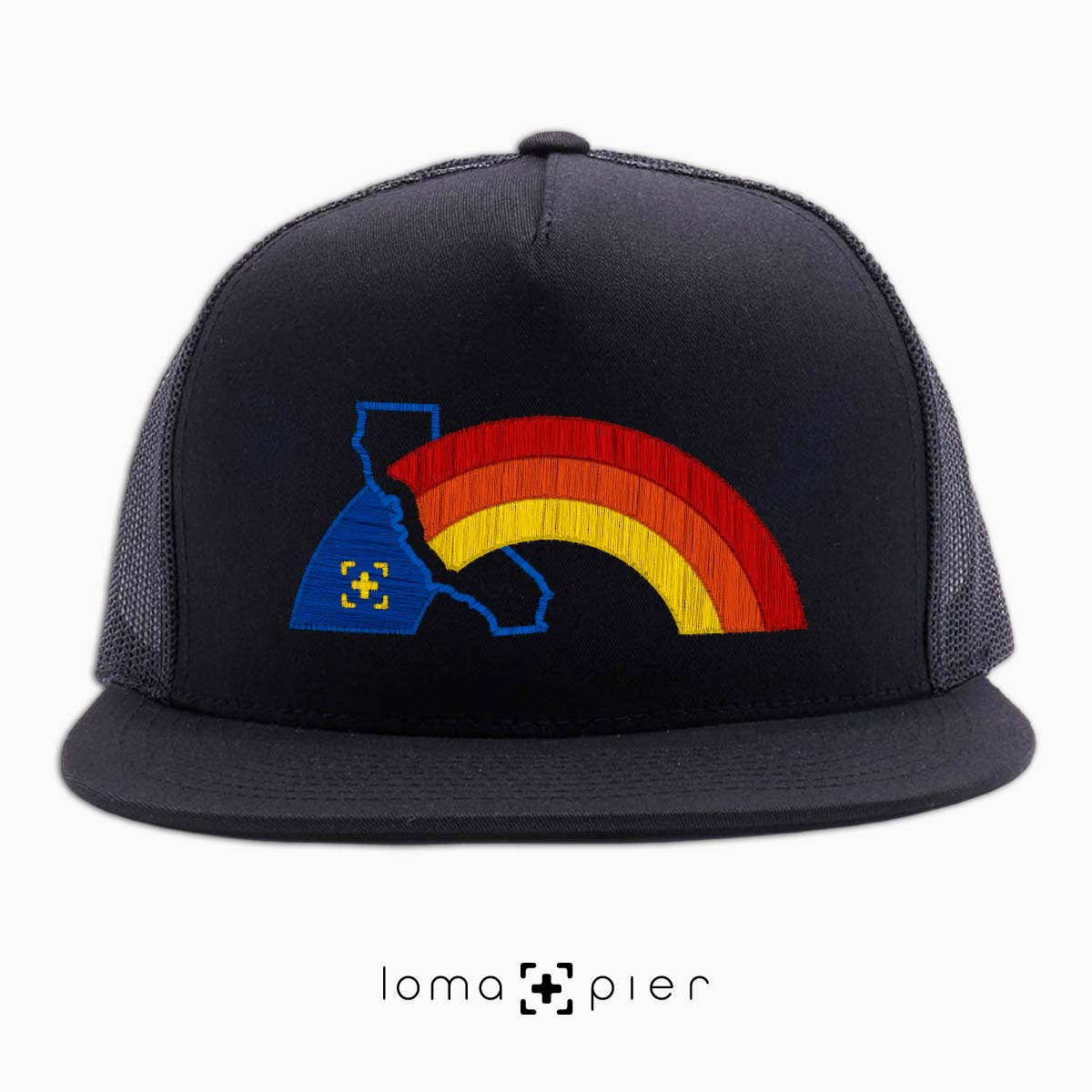 WESTCOAST RAINBOW beach netback hat in black by loma+pier hat store