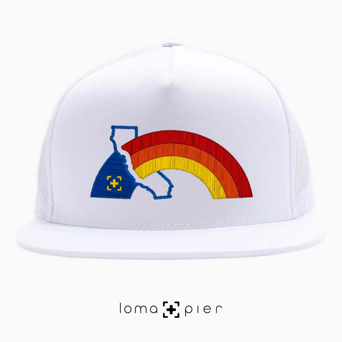 WESTCOAST RAINBOW beach netback hat in white by loma+pier hat store