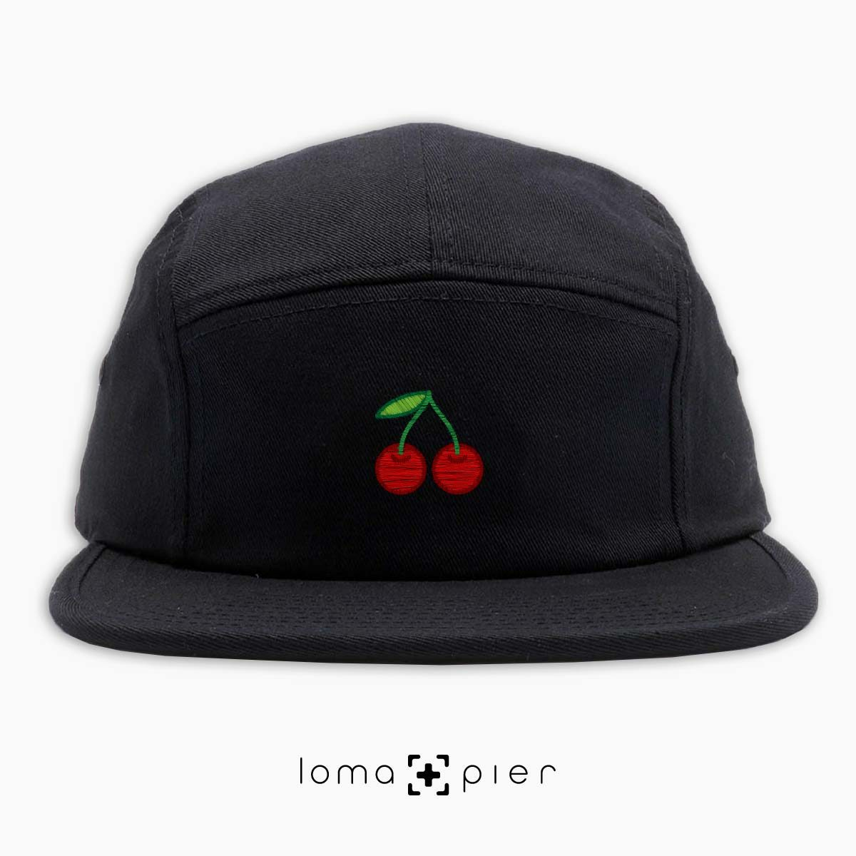 CHERRIES icon embroidered on a black cotton 5-panel hat by loma+pier hat store