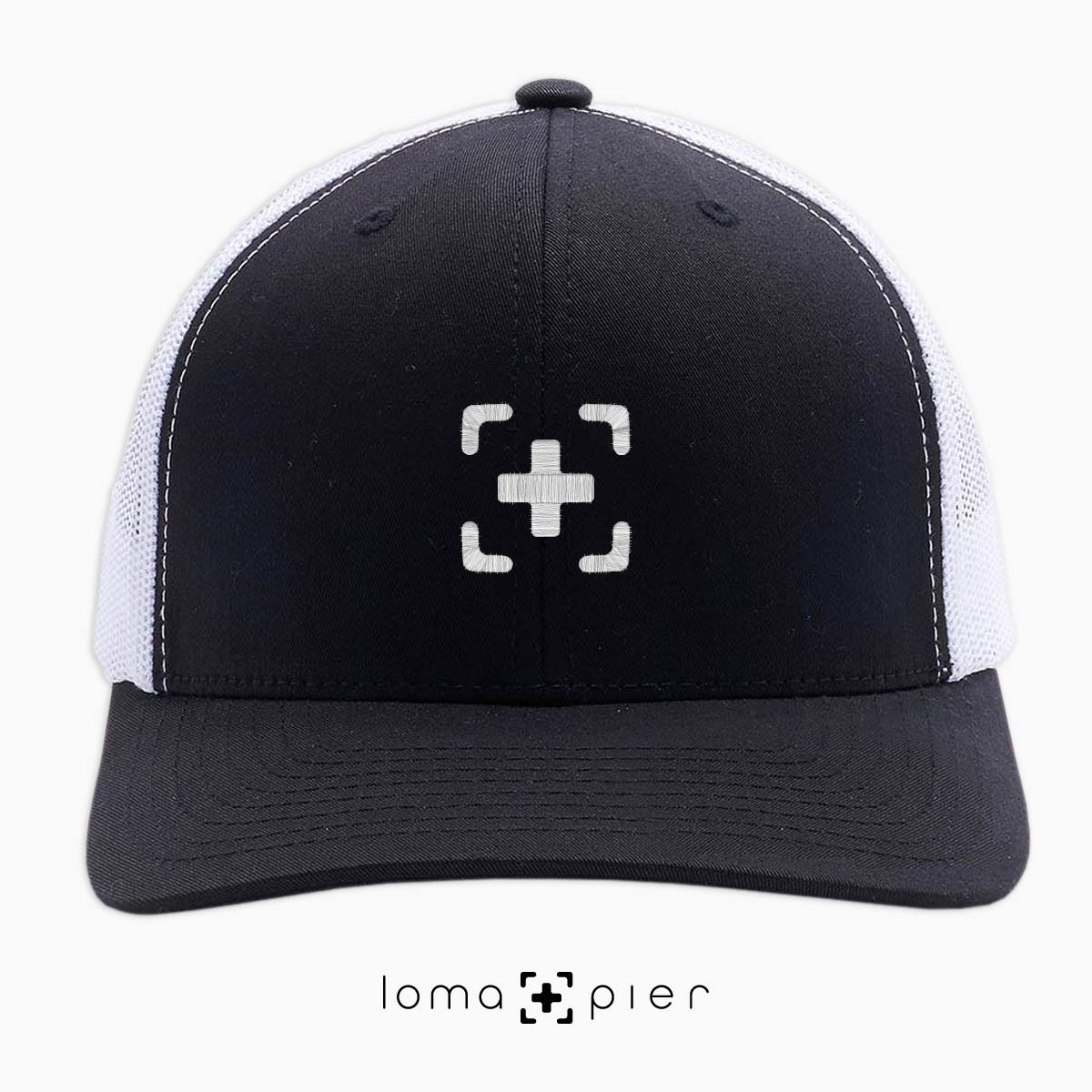 black and white classic netback trucker hat with icon