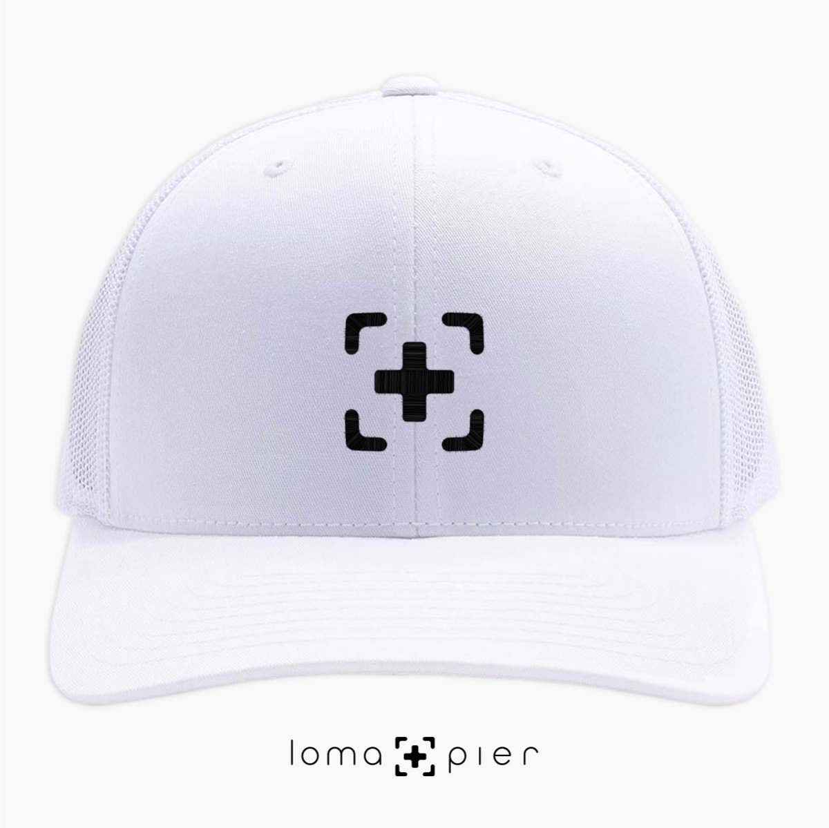 white classic netback trucker hat with icon