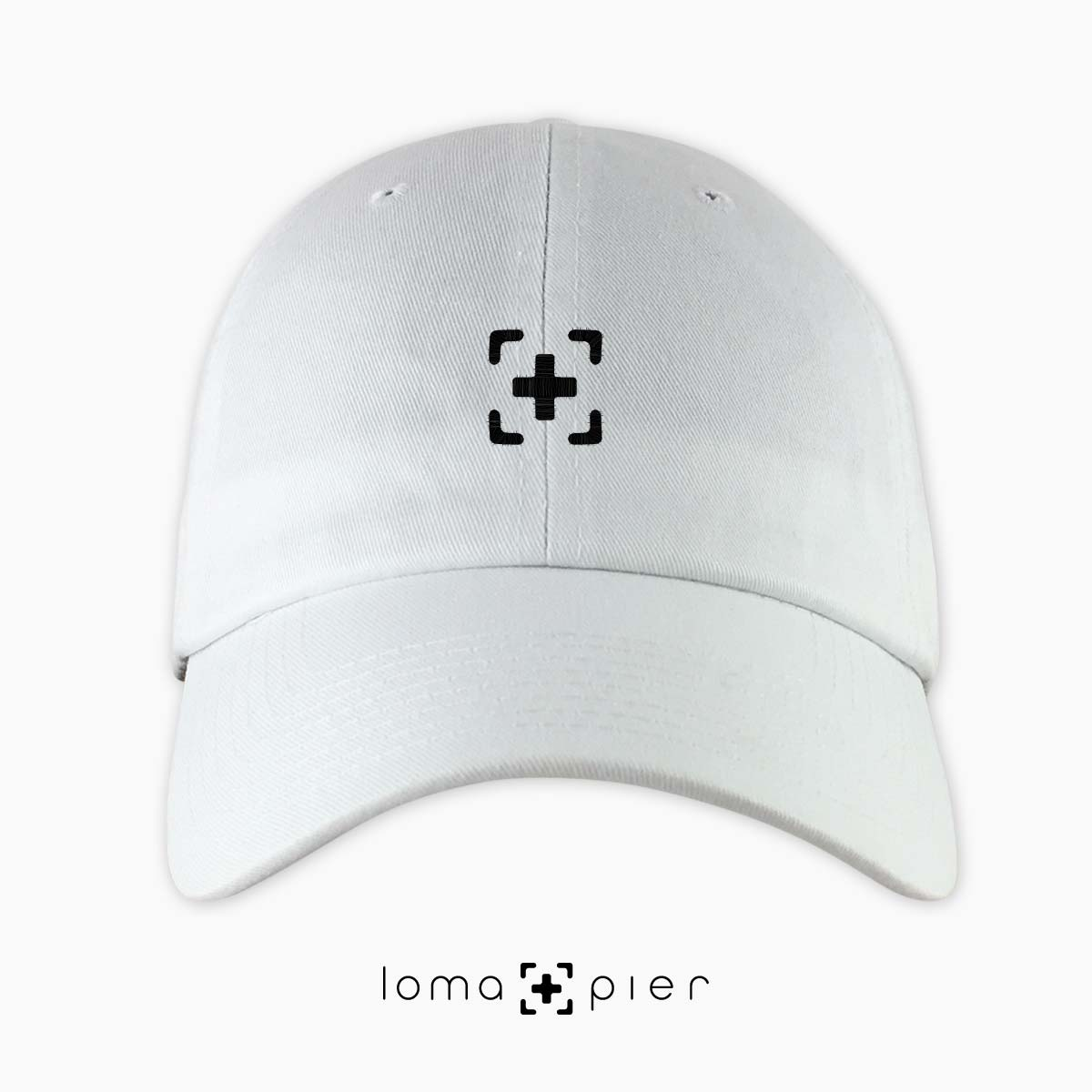 dad hat with icon in white by loma+pier hat store