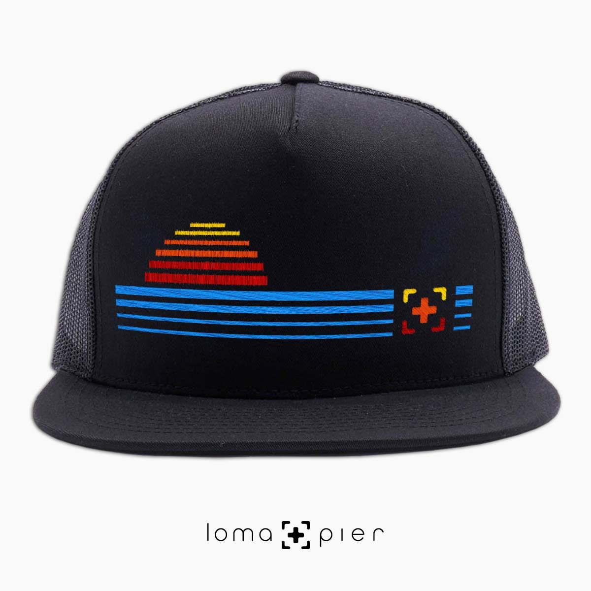 DIGITAL SUNSET icon netback hat in black by loma+pier hat store