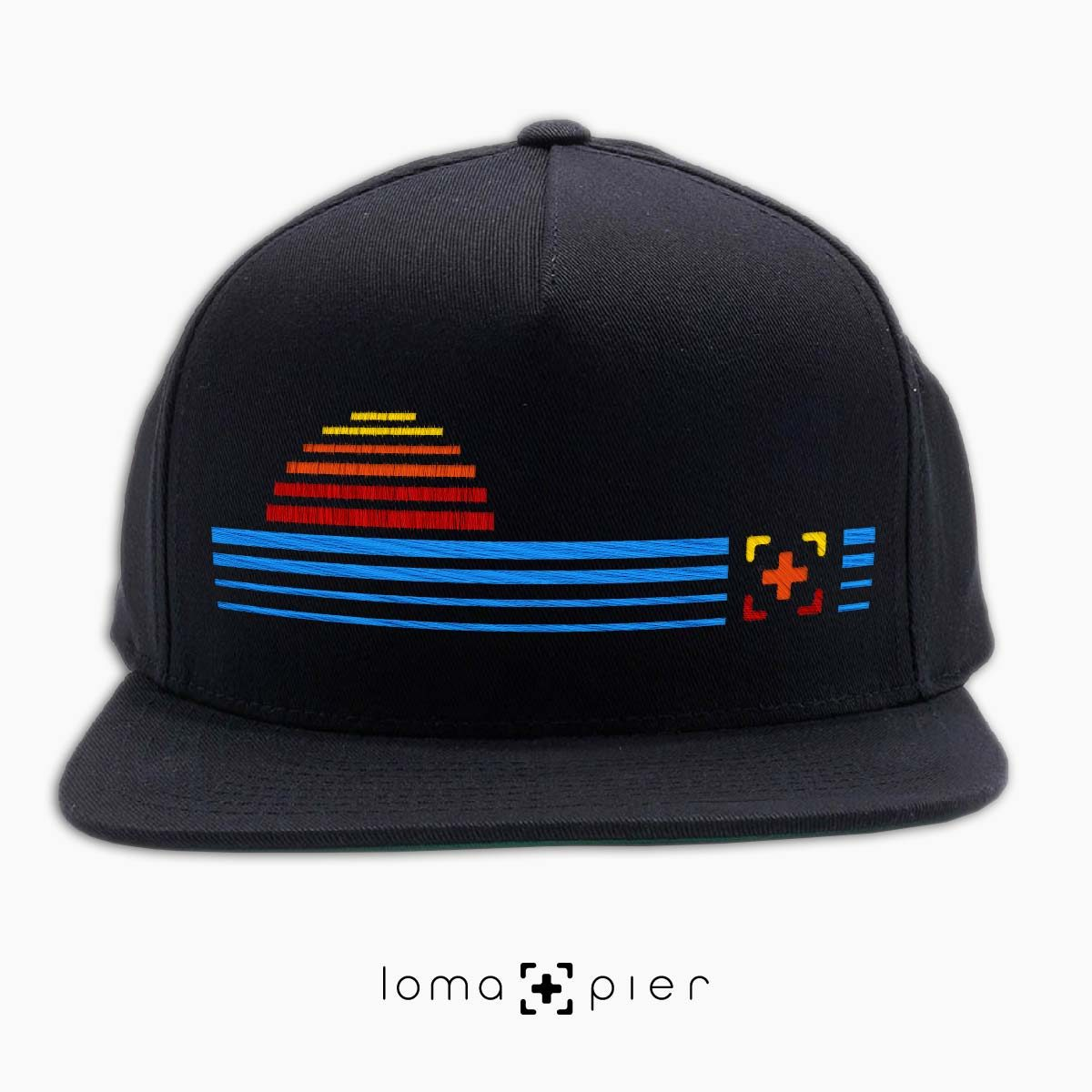 DIGITAL SUNSET icon snapback hat in black by loma+pier hat store