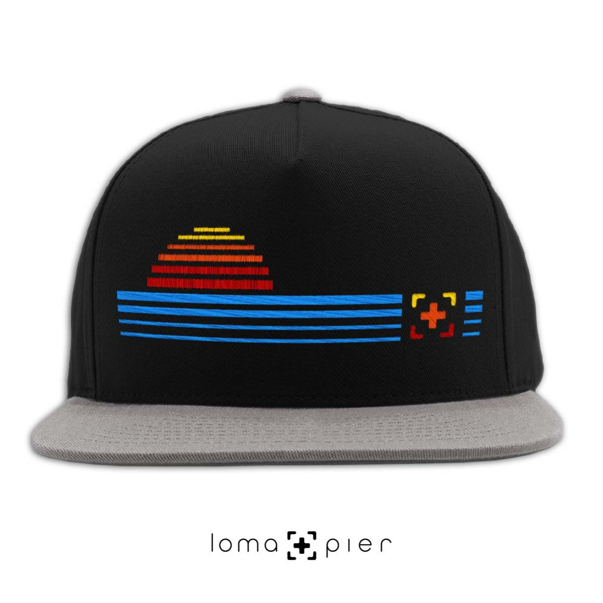 DIGITAL SUNSET icon snapback hat in black grey by loma+pier hat store
