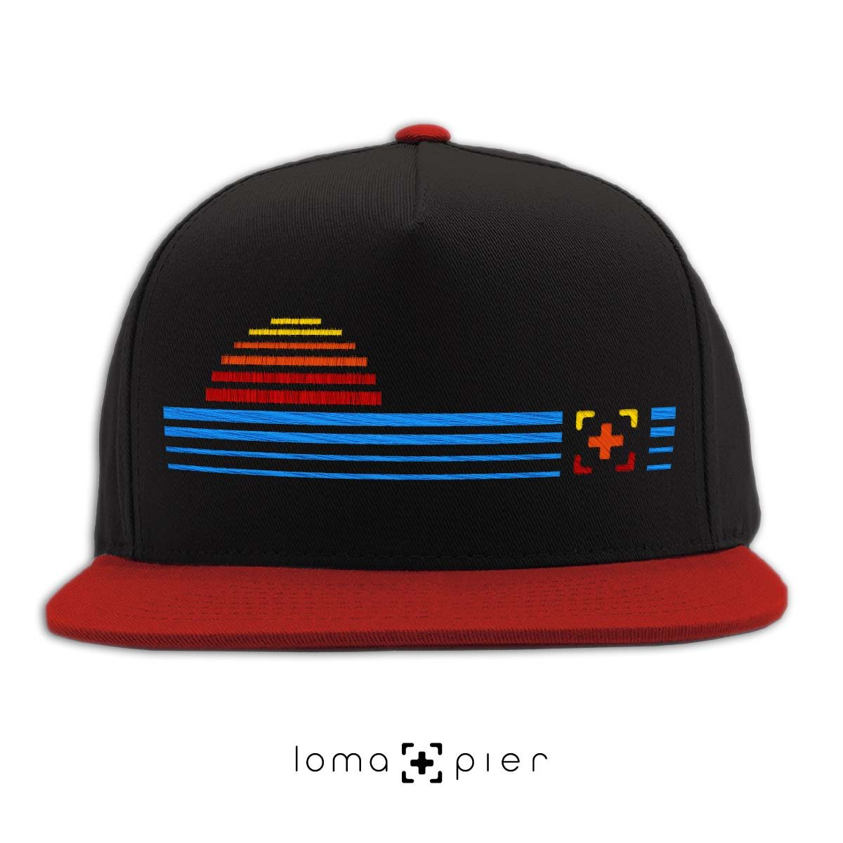 DIGITAL SUNSET icon snapback hat in black red by loma+pier hat store