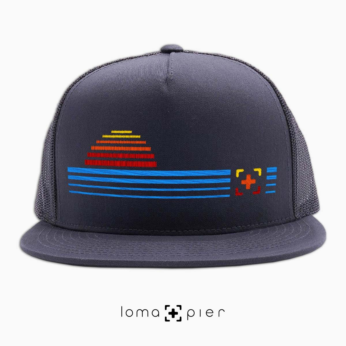 DIGITAL SUNSET icon netback hat in charcoal by loma+pier hat store