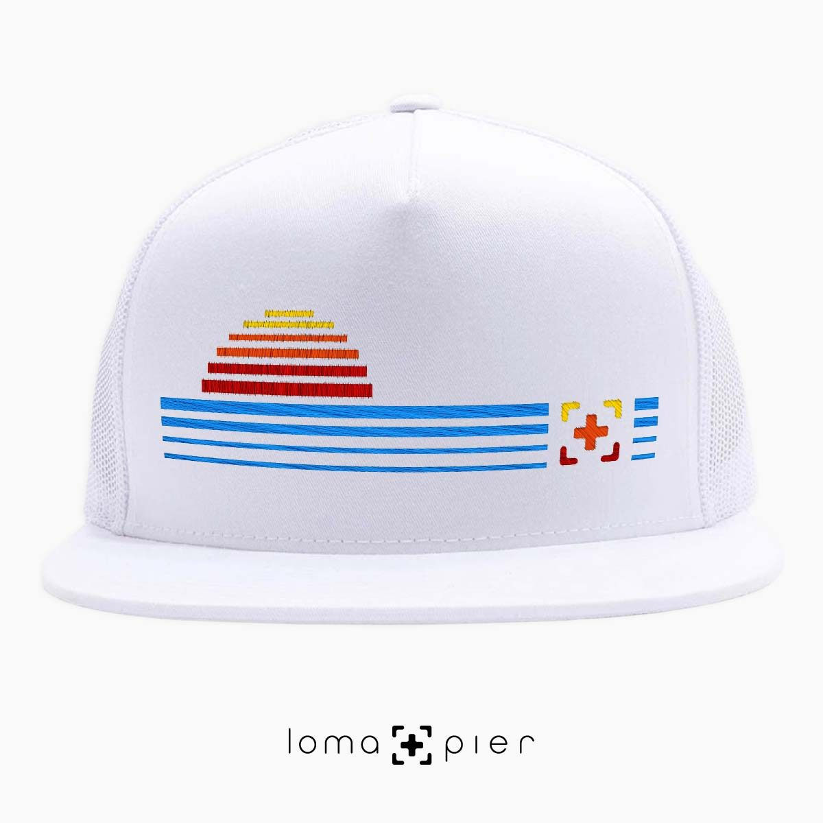 DIGITAL SUNSET icon netback hat in white by loma+pier hat store