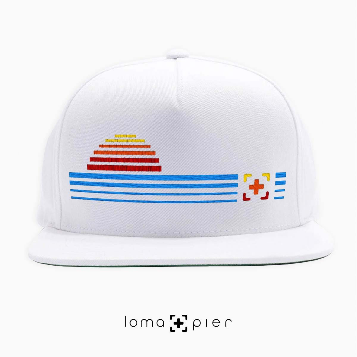 DIGITAL SUNSET icon snapback hat in white by loma+pier hat store
