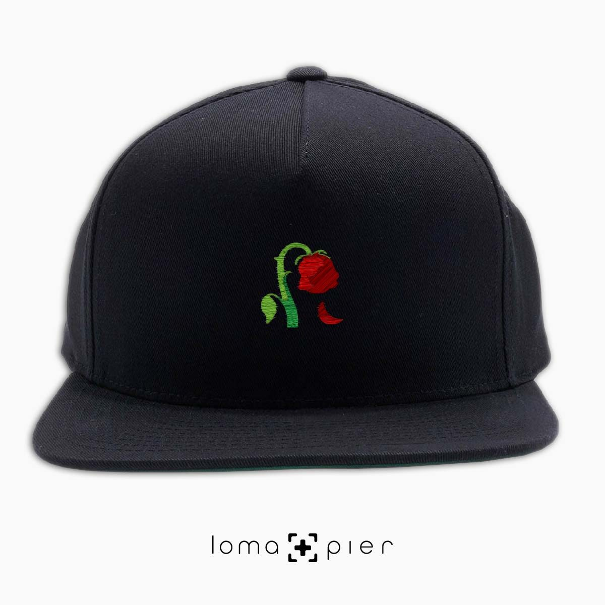 DYING ROSE EMOJI icon embroidered on a black classic snapback hat by loma+pier hat store