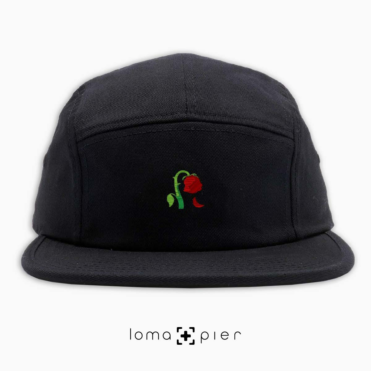DYING ROSE EMOJI icon embroidered on a black cotton 5-panel hat by loma+pier hat store