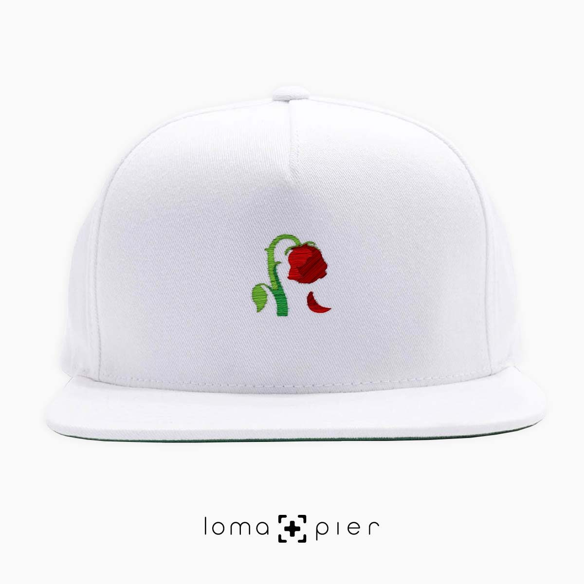 DYING ROSE EMOJI icon embroidered on a white classic snapback hat by loma+pier hat store