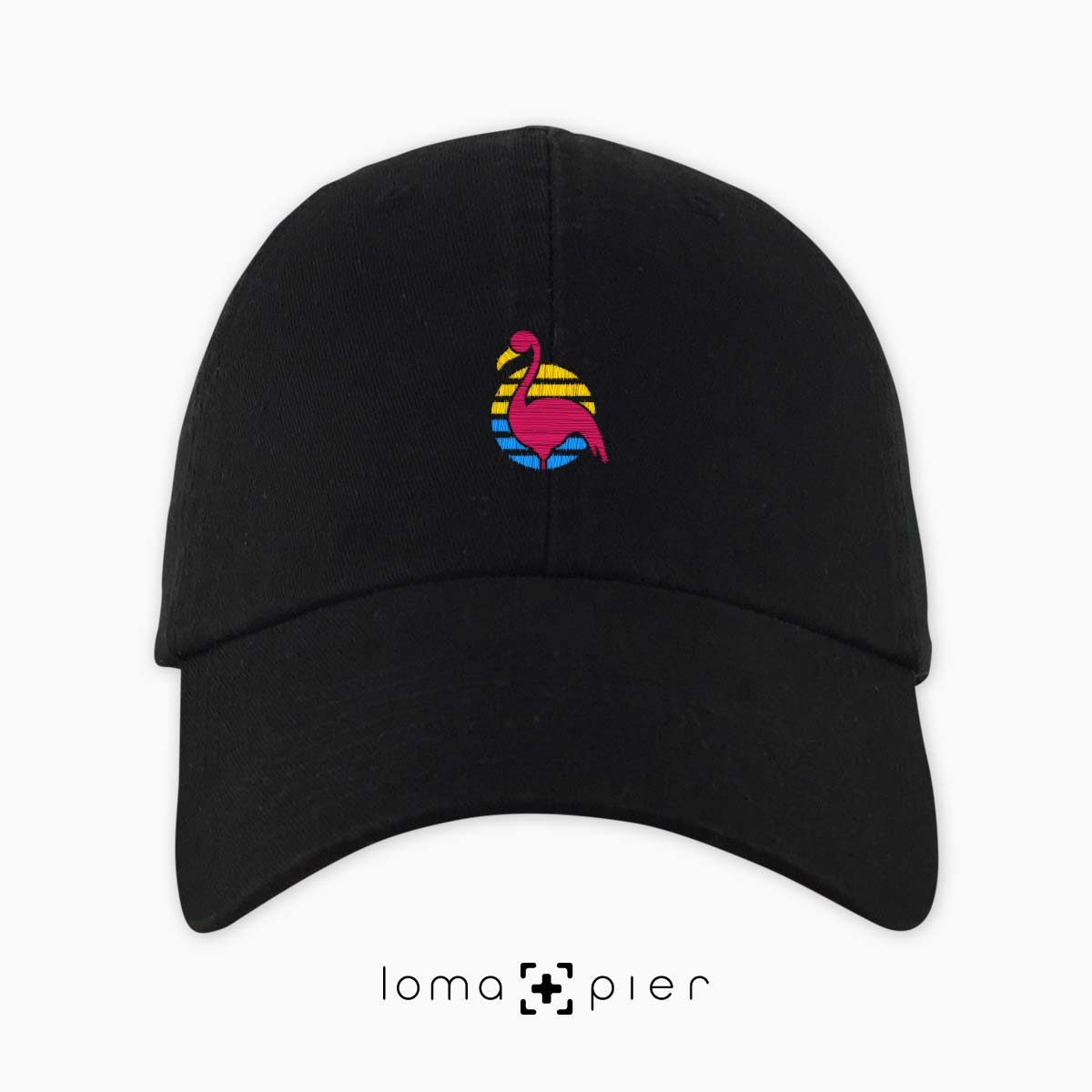 FLAMINGO icon embroidered on a black unstructured dad hat by loma+pier hat store made in the USA