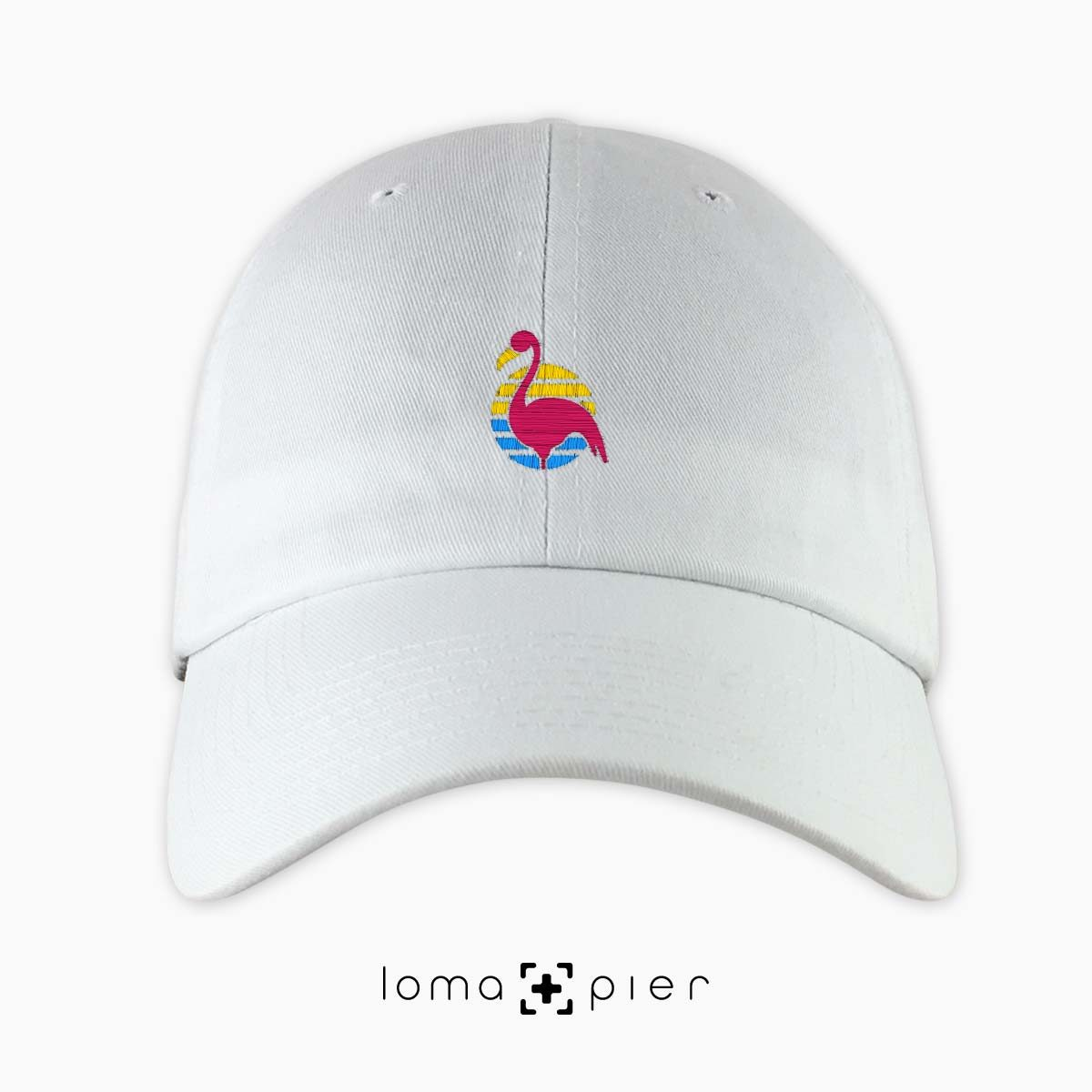 FLAMINGO icon embroidered on a white unstructured dad hat by loma+pier hat store made in the USA