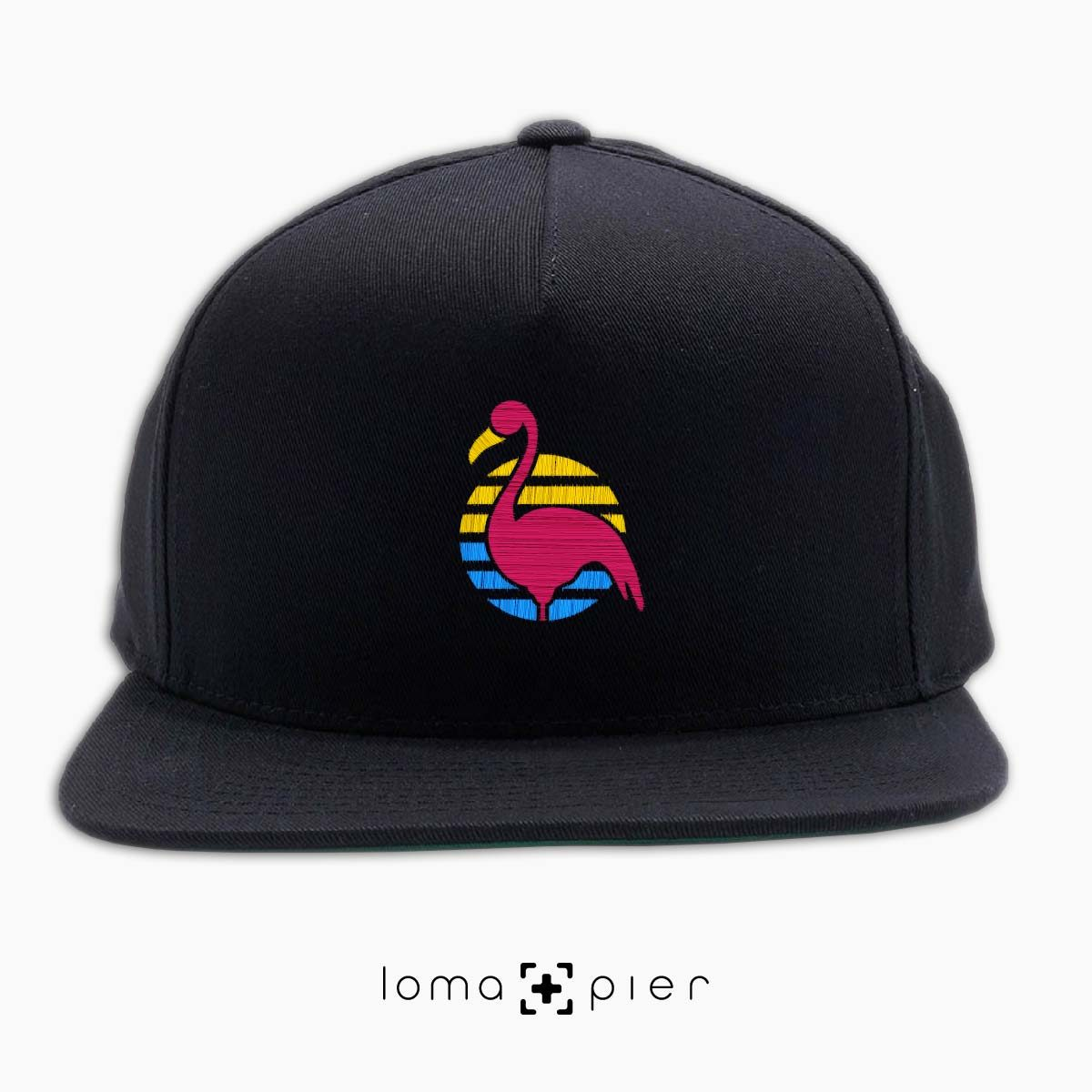 FLAMINGO icon embroidered on a black classic snapback hat by loma+pier hat store