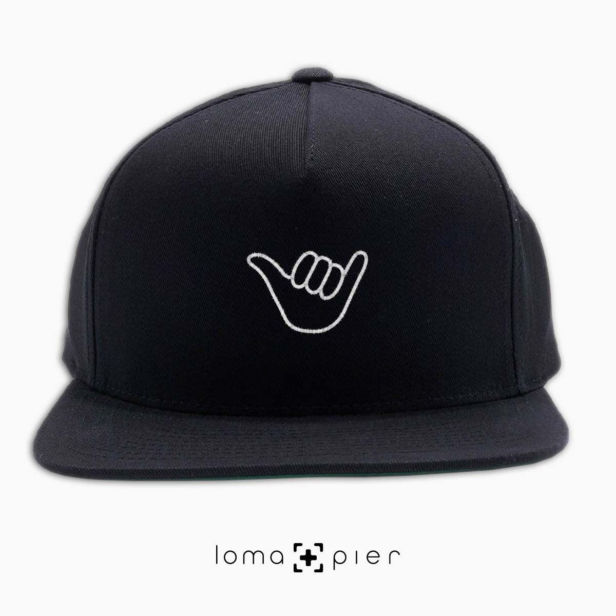 HANG LOOSE icon embroidered on a black classic snapback hat by loma+pier hat store