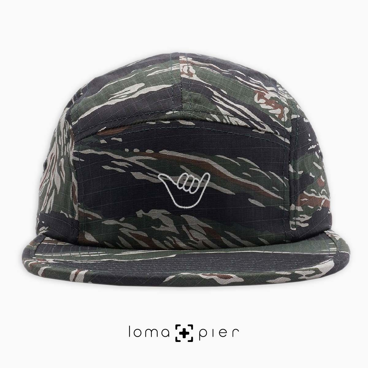 HANG LOOSE icon embroidered on a camo cotton 5-panel hat by loma+pier hat store